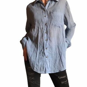 Free people blue button down top